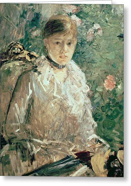 Morisot Canvas Greeting Cards - Portrait of a Young Lady Greeting Card by Berthe Morisot
