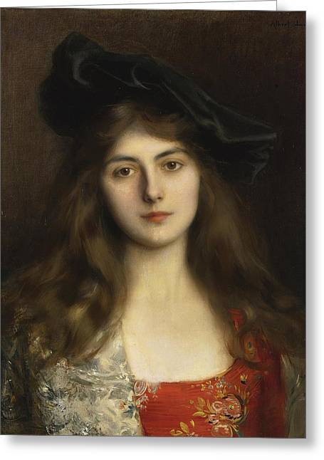 Young Albert Greeting Cards - Portrait of a Young Woman Greeting Card by Celestial Images