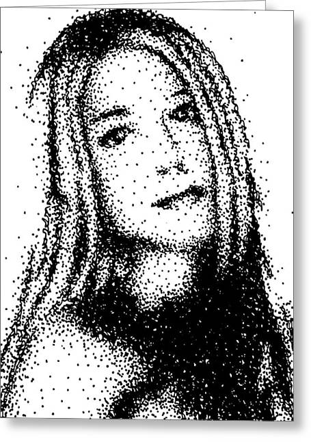 Pen And Ink Drawing Greeting Cards - Portrait of a young woman Greeting Card by George Hobbs