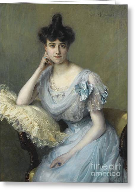 Woman In A Dress Greeting Cards - Portrait Of A Young Woman In A Blue Dress Greeting Card by Paul Chabas