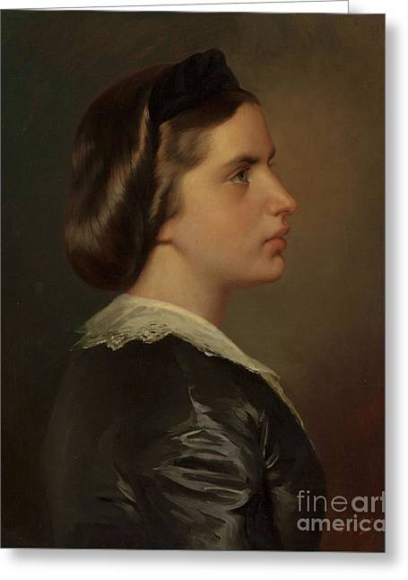 Portrait Of A Young Woman In Profile Greeting Card by Franz Xaver