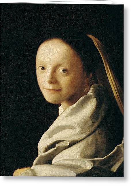 17th Greeting Cards - Portrait of a Young Woman Greeting Card by Jan Vermeer