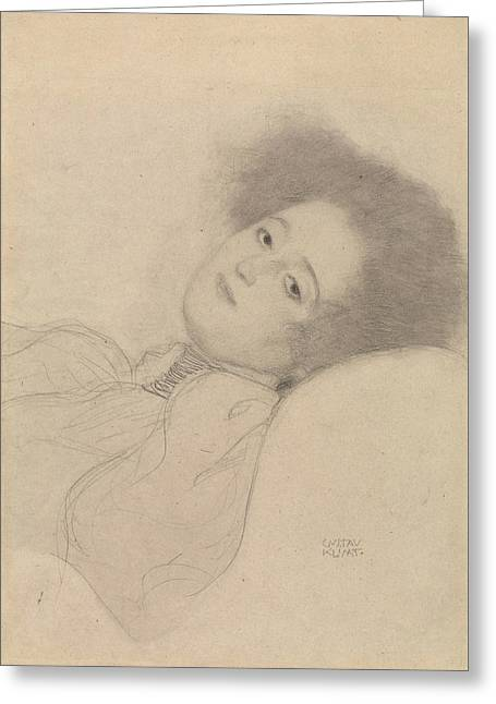 Portrait Of Woman Greeting Cards - Portrait of a Young Woman Reclining Greeting Card by Gustav Klimt