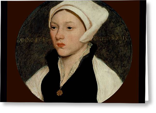 Coif Greeting Cards - Portrait of a Young Woman with a White Coif - 1541 Greeting Card by Hans Holbein the Younger