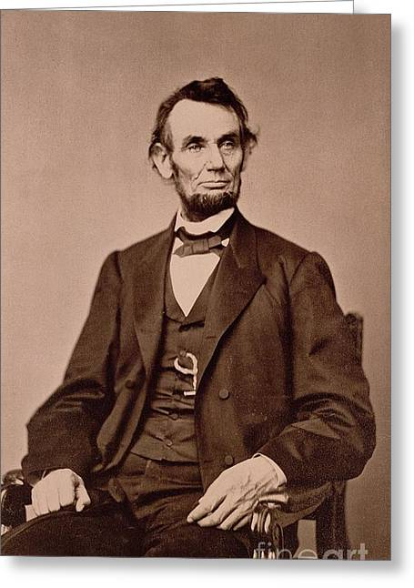 President Of America Photographs Greeting Cards - Portrait of Abraham Lincoln Greeting Card by Mathew Brady