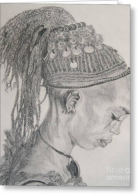 Nancy Rucker Greeting Cards - Portrait of African Girl Greeting Card by Nancy Rucker
