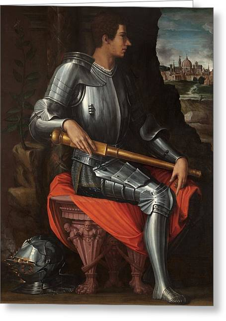 Bronzino Agnolo Greeting Cards - Portrait of Alessandro de Medici Greeting Card by Agnolo Bronzino