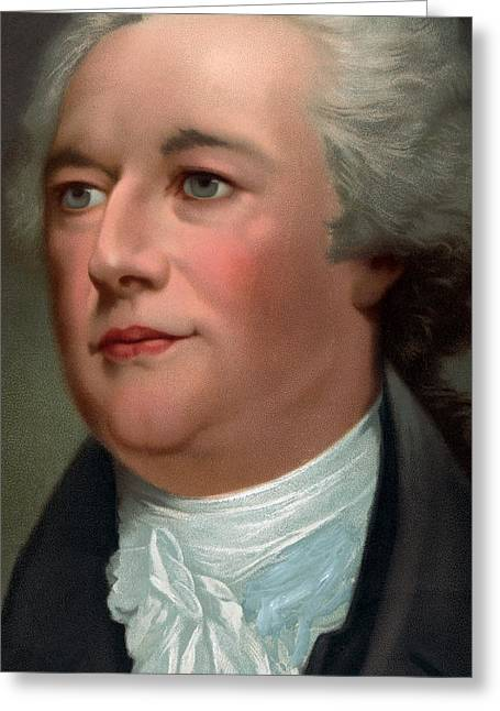 Secretary Of State Greeting Cards - Portrait of Alexander Hamilton Greeting Card by Unknown
