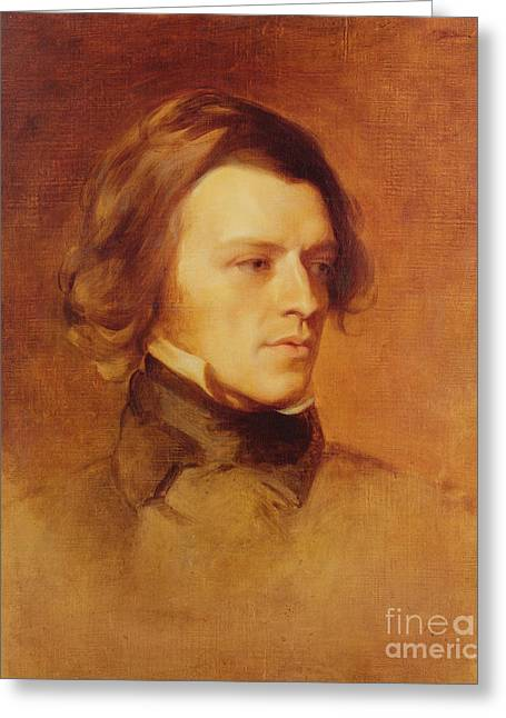 Romanticist Greeting Cards - Portrait of Alfred Lord Tennyson Greeting Card by Samuel Laurence
