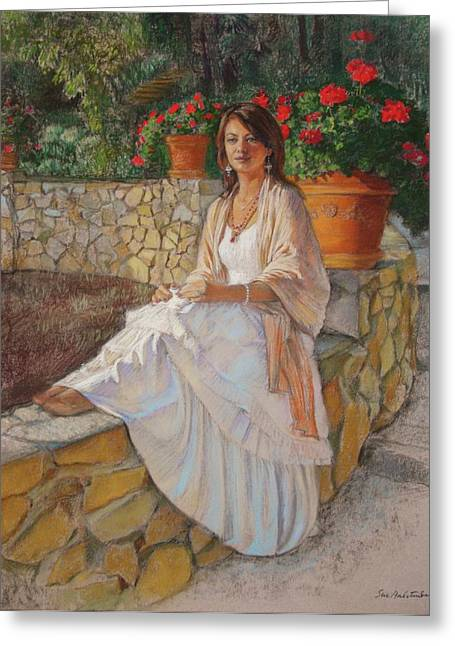 Sunlight Pastels Greeting Cards - Portrait of Alitta Greeting Card by Sue Halstenberg