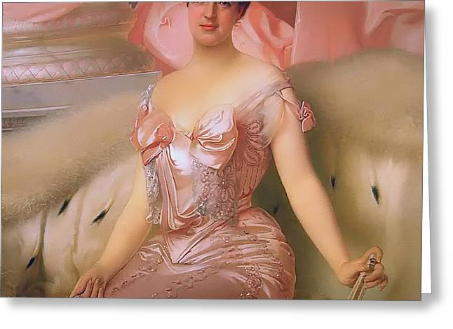 Low-cut Dress Greeting Cards - Portrait of Amelie dOrleans Greeting Card by Vittorio Matteo Corcos