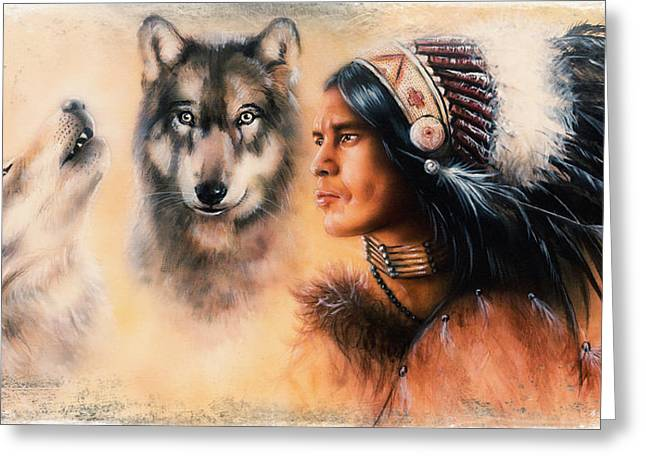 Native American Spirit Portrait Paintings Greeting Cards - Portrait of american indian in national dress  on color backgrou Greeting Card by Jozef Klopacka