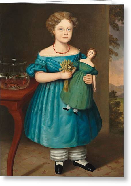 Portrait Of Amy Philpot In A Blue Dress With Doll And Goldfish Greeting Card by Joseph Whiting Stock