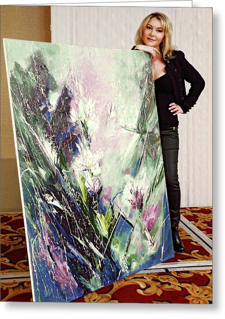 Photograph Of Painter Greeting Cards - Portrait Of An Artist Inna Pankratova Greeting Card by Viktor Savchenko