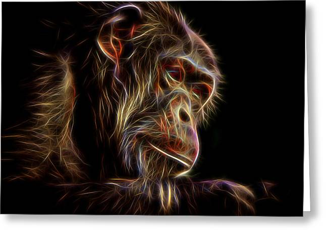 Photoshop Drawings Greeting Cards - Portrait of an Elderly Chimp II altered version Greeting Card by Jim Fitzpatrick