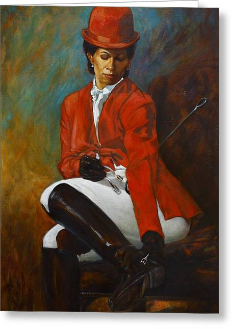 Portrait Of An Equestrian Greeting Card by Harvie Brown