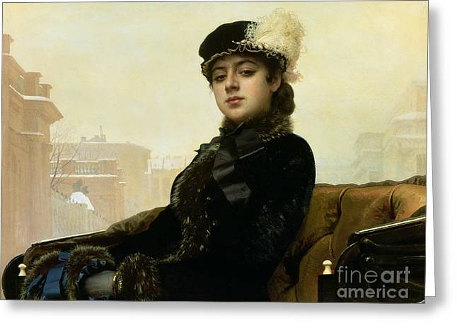 Carriage Greeting Cards - Portrait of an Unknown Woman Greeting Card by Ivan Nikolaevich Kramskoy