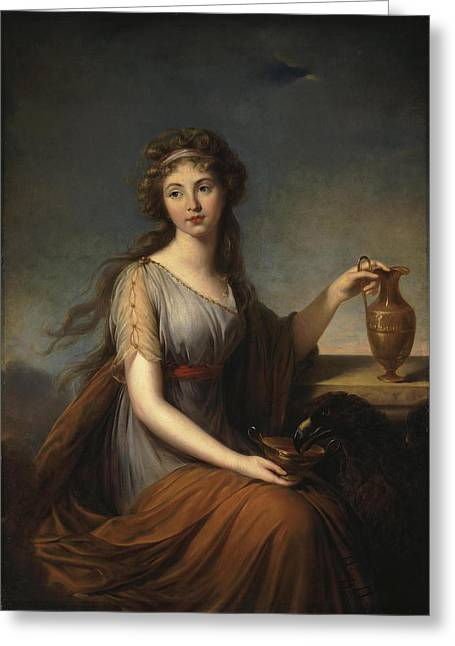Roman Vase Greeting Cards - Portrait of Anna Pitt as Hebe Greeting Card by Elisabeth Louise Vigee-Lebrun