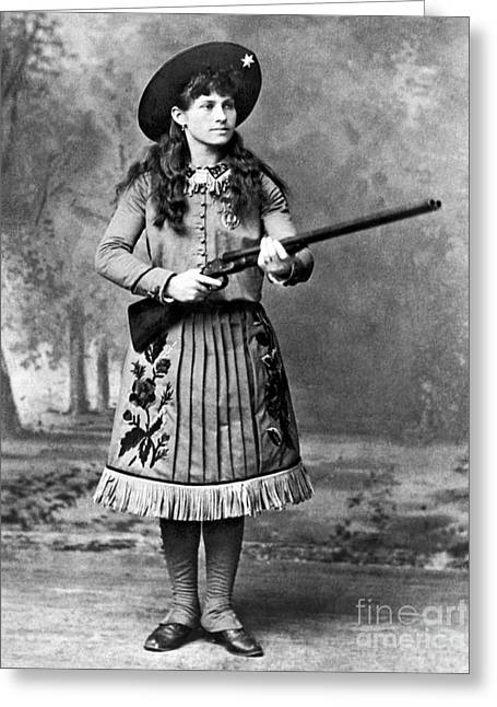 Cowgirl And Cowboy Greeting Cards - Portrait Of Annie Oakley Greeting Card by American School