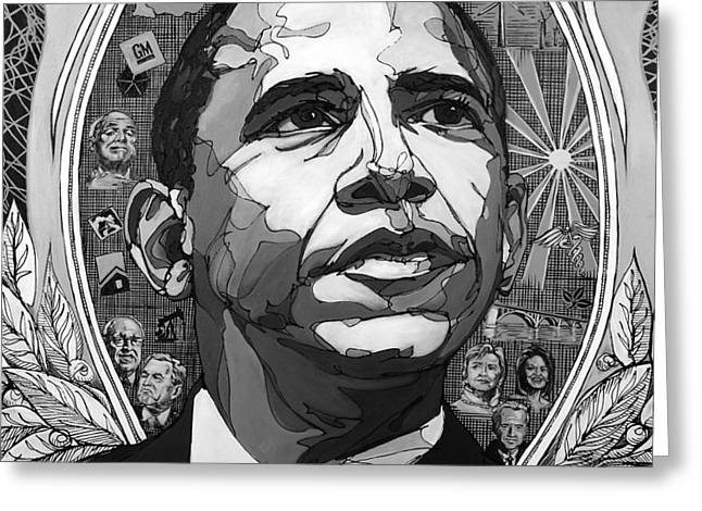 Obama Greeting Cards - Portrait of Barak Obama Greeting Card by John Gibbs
