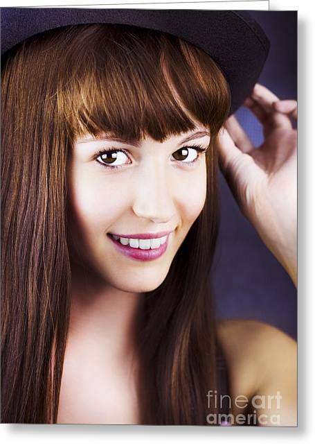 Portrait Of Beautiful Smiling Woman With Hat Greeting Card by Jorgo Photography - Wall Art Gallery