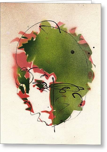 Famous Artist Greeting Cards - Portrait of Bob Dylan Greeting Card by Ryan  Hopkins