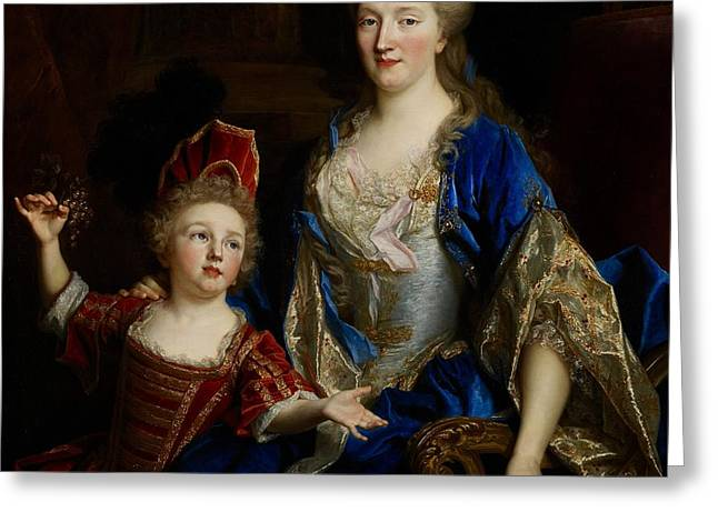 Portrait of Catherine Coustard Greeting Card by Nicolas de Largilliere