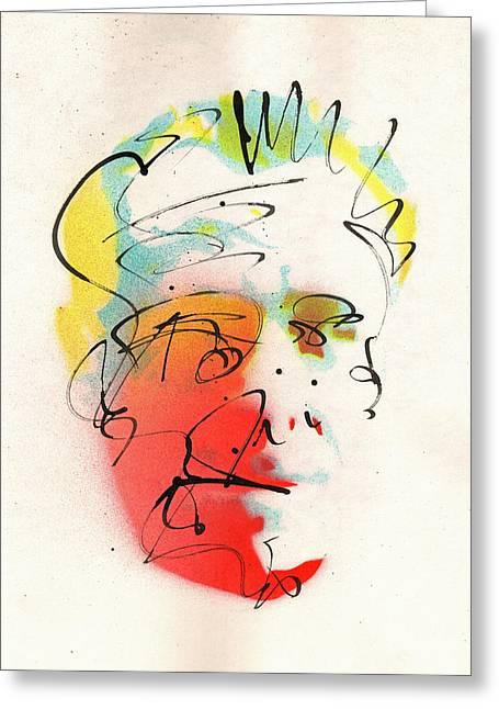 Shepard Fairey Greeting Cards - Portrait of Charles Bukowski Greeting Card by Ryan  Hopkins