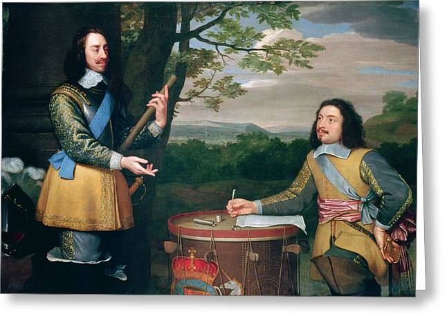 Man Of War Greeting Cards - Portrait of Charles I and Sir Edward Walker Greeting Card by English School