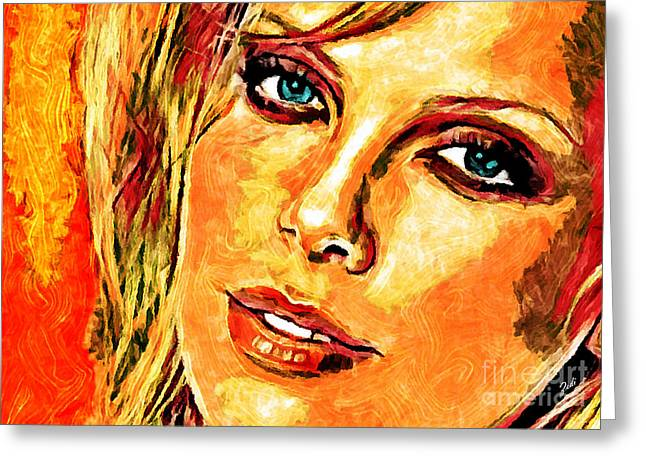 Portrait Of Charlize Theron Greeting Card by Zedi