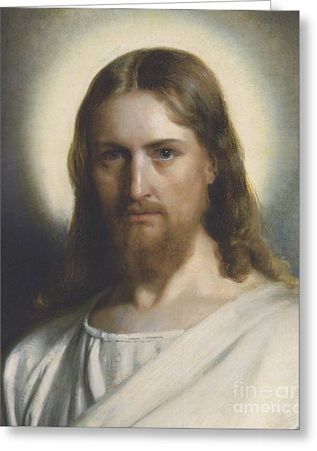 Portrait Of Christ Greeting Card by MotionAge Designs