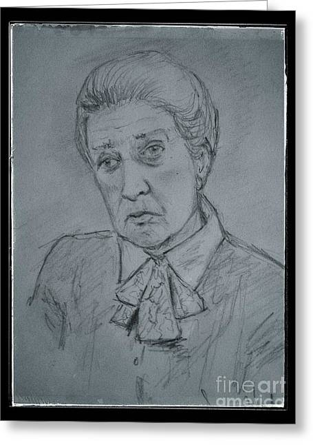 Senior Citizen Drawings Greeting Cards - Portrait of Cora Greeting Card by Joan-Violet Stretch