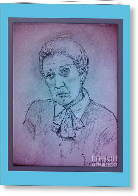 Senior Citizen Drawings Greeting Cards - Portrait of Cora Pastel Colours Greeting Card by Joan-Violet Stretch