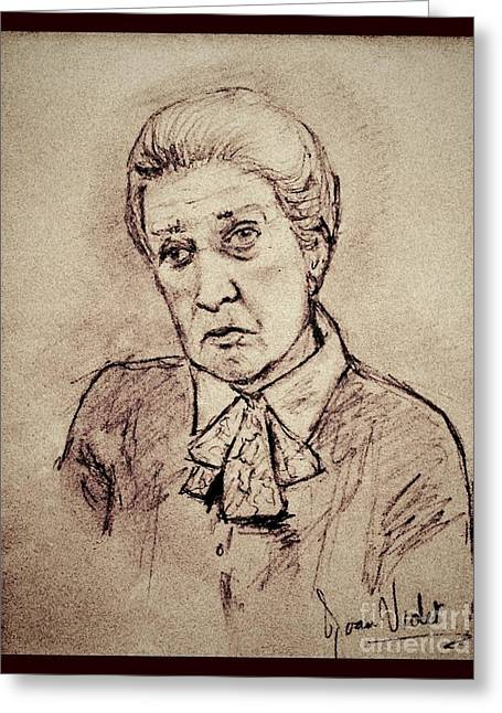 Senior Citizen Drawings Greeting Cards - Portrait of Cora Sepia Greeting Card by Joan-Violet Stretch