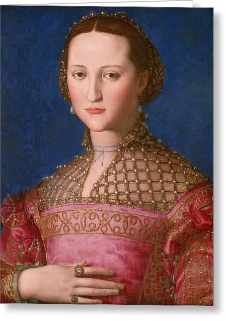 Bronzino Agnolo Greeting Cards - Portrait of Eleonora of Toledo  Greeting Card by Agnolo Bronzino