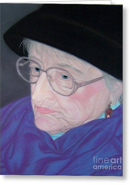 Scarf Pastels Greeting Cards - Portrait of Elizabeth Greeting Card by Emily Young
