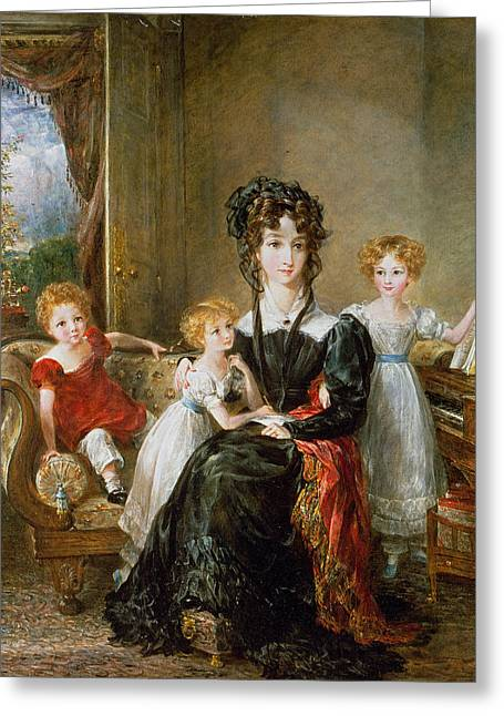 Group Portraiture Greeting Cards - Portrait of Elizabeth Lea and her Children Greeting Card by John Constable