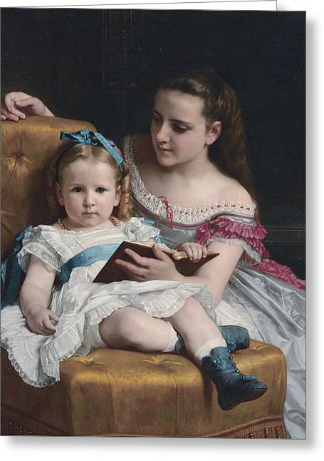 Portrait Of Eva And Frances Johnston Greeting Card by William-Adolphe Bouguereau