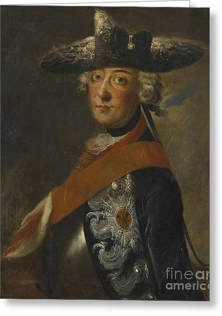 The Followers Greeting Cards - Portrait Of Frederick The Great Of Prussia Greeting Card by Follower of Antoine Pesne