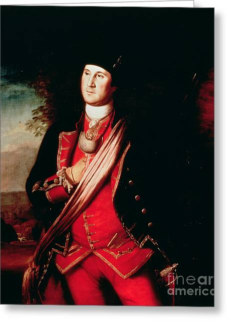 Portraits Oil Greeting Cards - Portrait of George Washington Greeting Card by Charles Willson Peale