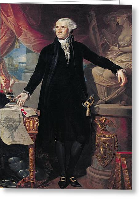 Full-length Portrait Paintings Greeting Cards - Portrait of George Washington Greeting Card by Joes Perovani