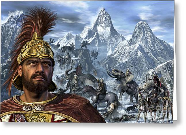 3rd Army Greeting Cards - Portrait Of Hannibal And His Troops Greeting Card by Kurt Miller