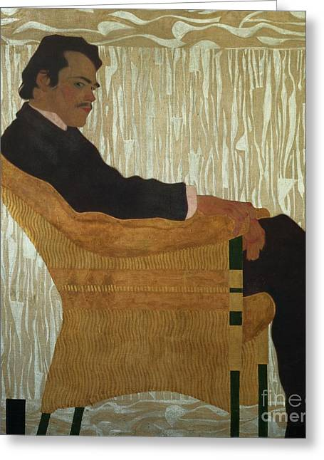 Moustache Greeting Cards - Portrait of Hans Massmann Greeting Card by Egon Schiele
