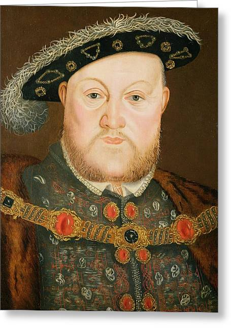 Royalty Greeting Cards - Portrait of Henry VIII Greeting Card by English School