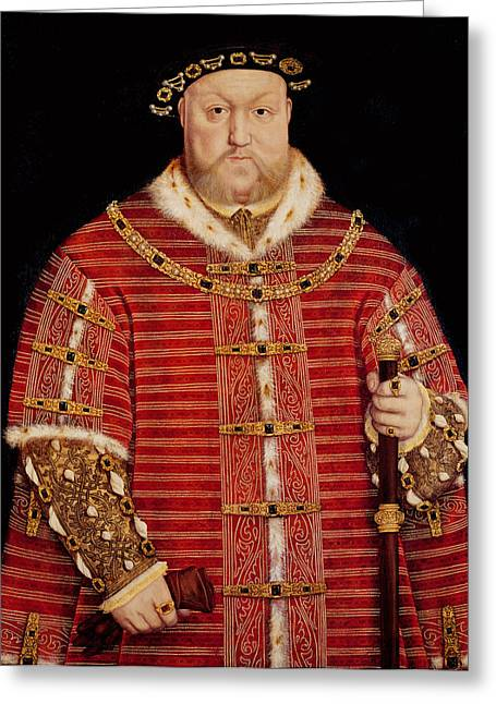 Royalty Greeting Cards - Portrait of Henry VIII Greeting Card by Hans Holbein the Younger