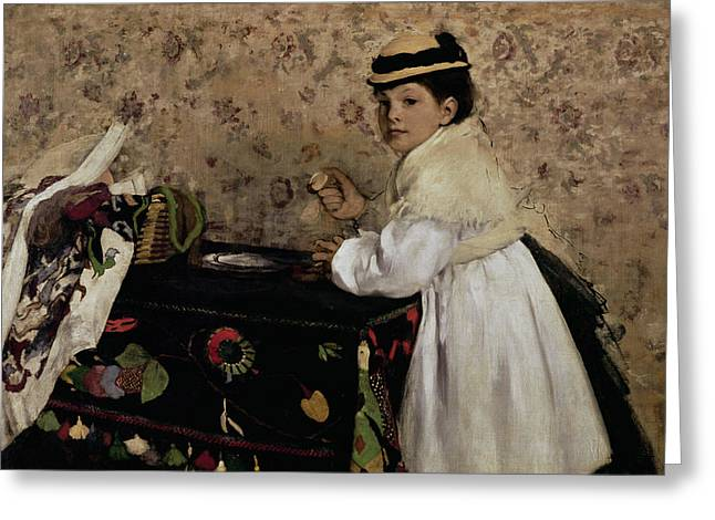 Portrait of Hortense Valpincon as a Child Greeting Card by Edgar Degas