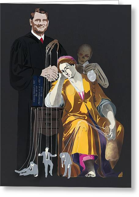 Reform Paintings Greeting Cards - Portrait of Ignorance - Campaign Finance Reform Greeting Card by Michael Fischerkeller