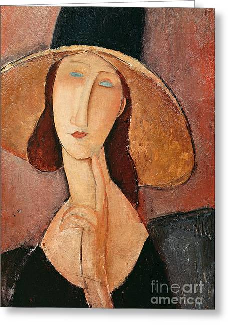 Femme Greeting Cards - Portrait of Jeanne Hebuterne in a large hat Greeting Card by Amedeo Modigliani