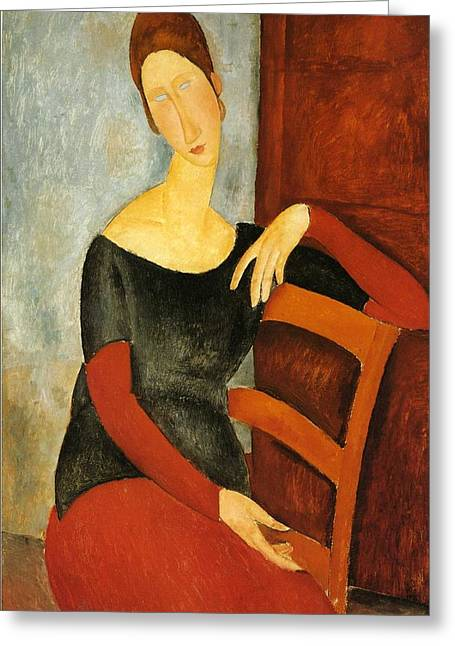 Hebuterne Greeting Cards - Portrait Of Jeanne Hebuterne On Red Chair Greeting Card by Amedeo Modigliani