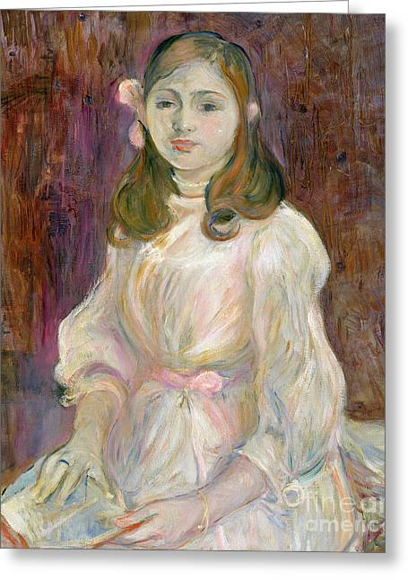 Berthe (1841-95) Greeting Cards - Portrait of Julie Manet Greeting Card by Berthe Morisot